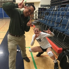 "Mr. Berroya at my UCSC volleyball game holding up our ""Go Slugs"" hand signal."