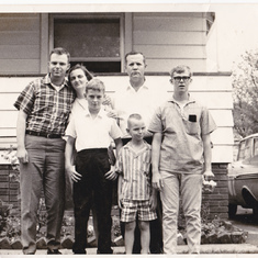 Larry with parents Ozel and William Brown and brothers  Jimmy, Billy, and David