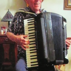 Larry having fun with his accordion 2016