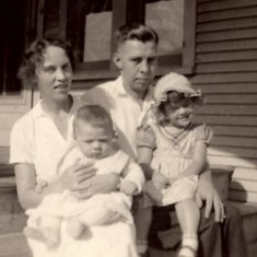 Larry, Beatrice and Jean Larson at Irving Ave. residence -  1933