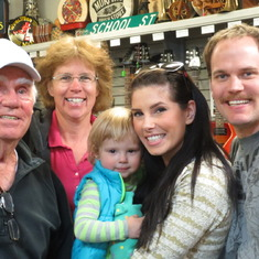 summer 2014 Larry and Leigh with relatives Chris, Kristina and Ruby Hirschman during a visit to the music store.