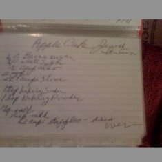 Moms recipe for apple cake.
