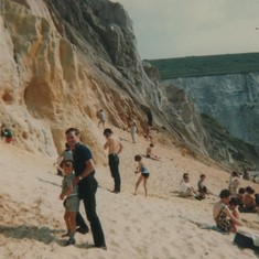 collecting coloured sand with dad....Alum Bay