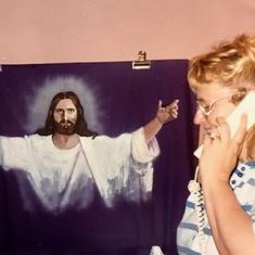 Mom with her painting of Jesus