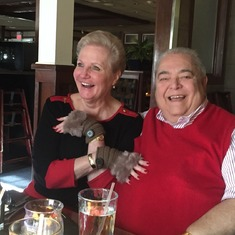 Lou and Eydie/Dad and Mom at Christmas Eve Brunch 2015. Lou's/Daddy's last Christmas. His spirit was always so fun loving!