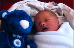 Louie with blue ted