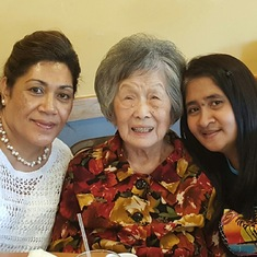 Mom's 90th birthday with two caregivers, Manusina and Donna.