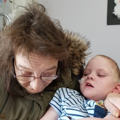Mam enjoying a lovely cuddle with daniel