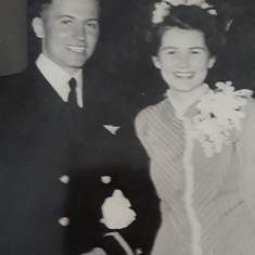 Wedding Photo at the Chapel, Corpus Christi Naval Air Station,  Texas 1945