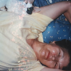 Mom napping with Petunia 1982ish