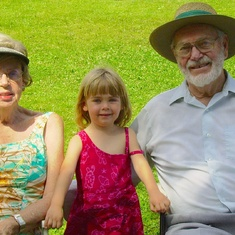 Molly with Grandma and Grandpa at Lake Windermere.