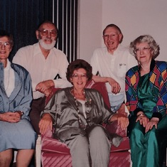 The Gang of Five! Intrepid travellers. Joyce, Madge, Mum, Dad and Earle.
