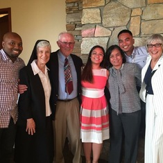 From left to right: Cornelle, Sister Anne, Judge Tom, TJ, Malou, Robbie, Miss Mary