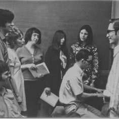 In 1972 At Aldersgate, the Chamber Singers practiced…with Marilyn as 1st soprano. Far L, Herb DeWitt, Tom Bilbro, Marilyn, Sharon Harger, Becky Stansberry, Sheryl Delamarter, Jim and Paul Lucas