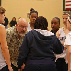 In the huddle as assistant coach of Brookline girls basketball in 2006.