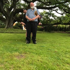 Practicing with self-timer in New Orleans during his 60th birthday weekend