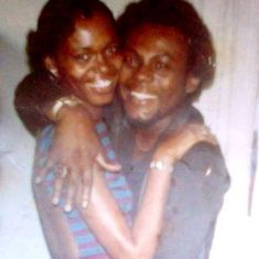Mom & Dad in that favorite dress of hers and with that beautiful smile she had