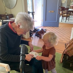 Sarah with her great grandchild Everly