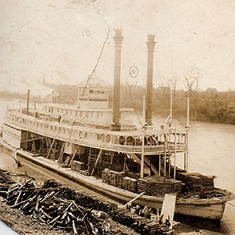 Supply boat at our dock on the Alabama River - These still ran when Grammy was small