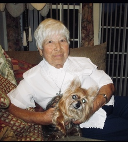 Mary and her beloved yorkie Bella