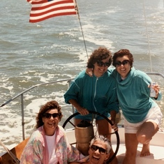 MaryAnne at the helm! San Francisco Bay. 1989
