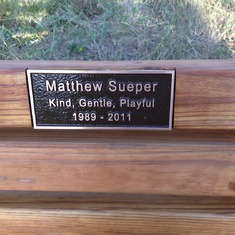 The plaque on Matthew's bench at the top of Flagstaff.