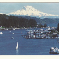 Notecard picture of Gig Harbor. Dusty found, fell in love with and purchased Windarra here in 1989 (see inside note, next photo).
