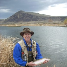April 2012 015 Mike with a beautiful rainbow trout fishing with Kevin