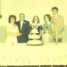 mom and daddy's 25 wedding anniversary celebration at Muhlenberg Lutheran church--mom, daddy, sharon, Golda and Gary and the little girl was Sonya