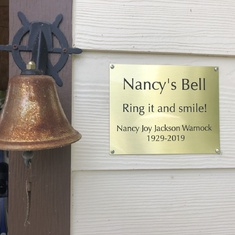 A bell Mom rang almost every morning when I was growing up.  It's for her now.