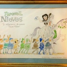 Farewell drawing from Miami Herald art department when Nieves left in 1966
