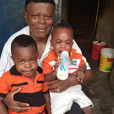 Papa and my kids 2017 Cameroon