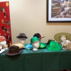 Pat's Hats Table at the Celebration of Life 3/30/19