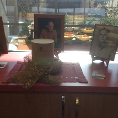Pat's Urn and Pictures on display at the Celebration of LIfe 3/30/19