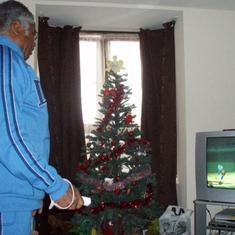 Daddy playing the Wii game