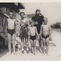 Mid-1940s, Peter Borst and family go to the beach. (L to R:) Bill, Ethel (mom), Peter, Bill (dad), and Jim Borst.