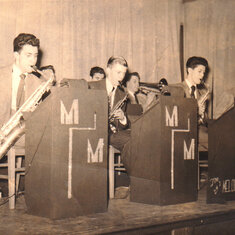 High school band, The Melody Makers Peter Borst is second from left in the front row. (Early 1950s)