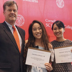 "Credit: Courtesy of the Cornell SHA - ""Phil Miller '83 with Caroline Shone '18 and Hannah Yang '18"""