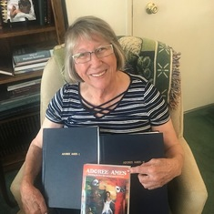 Polly - the day she received her first printed copy of Adoree Ames