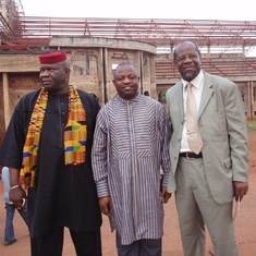 Dr. Leburn (far right) with Prof Emmanuel (far left) in Nigeria.