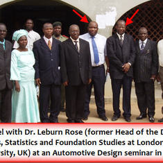 Prof Emmanuel with Dr. Leburn Rose at an Automotive Design seminar in Abuja.