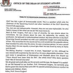A tribute from Prof. Jude Udenta Dean of Student Affairs, Enugu State University of Science and Tech