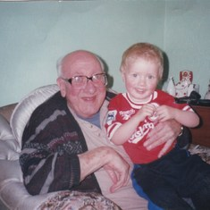 Sat with his older grandson Liam