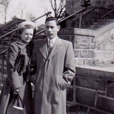 Mom Dad in front of church