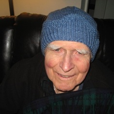Bob in the hat that Lisa made, 2018
