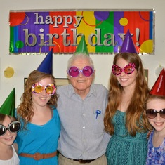 Bob's 85th birthday with all the granddaughters