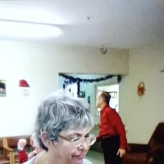 Debbie dancing at her Christmas Party