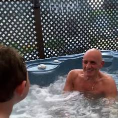 Fun at the shore in the hot tub with Adriano and Uncle Bob