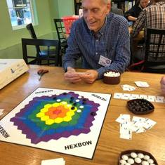 "Rollie playing ""Hexbow"" in 2018 with the Spielmasons at Spielbound in Omaha, NE."
