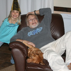 New Year's Eve 2008, on the leather chair with grand daughter Claudia and dog Jasper.